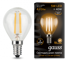 Лампа Gauss LED Filament Globe E14 5W 2700K 1/10/50 Gauss 105801105