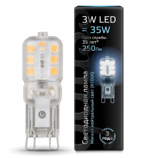 Лампа Gauss LED G9 AC220-240V 3W 4100K пластик 1/20/200 Gauss 107409203